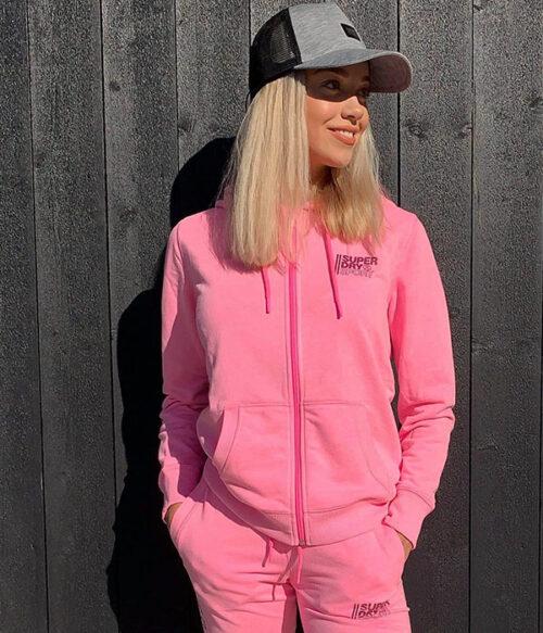 Superdry core sport hettejakke rosa