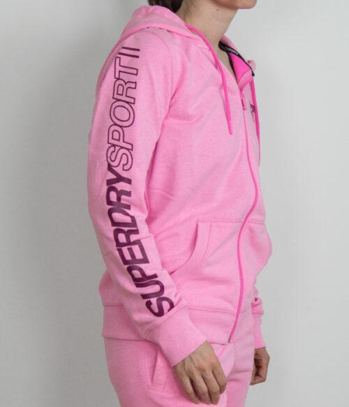 Superdry Core Sport ziphoodie pink siden