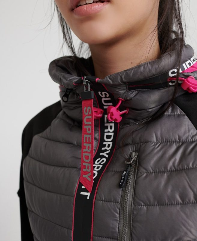 Superdry power lite hybrid jakke closeup
